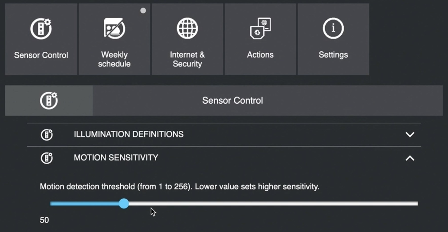 You can adjust the motion detection threshold from 1 to 256 where lower means higher sensitivity