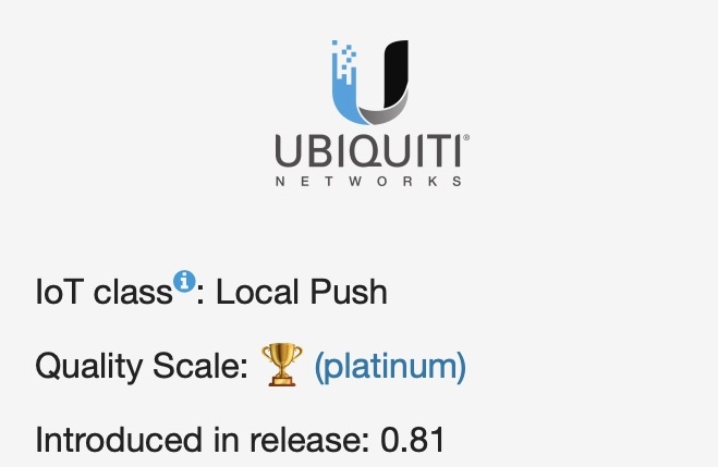 Home Assistant UniFi integration is rated as platinum in the Home Assistant Quality Scale