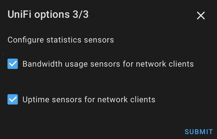 From the Home Assistant UniFi options you can add bandwidth and uptime sensors that are very useful for automations