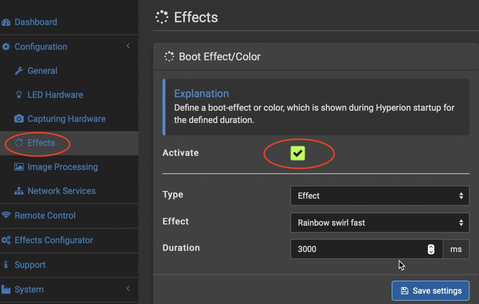 Activate Hyperion Boot Effect here that can be seen when Hyperion start