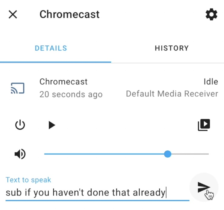 You can use the Text to speak field to make your Chromecast say something from Home Assistant.