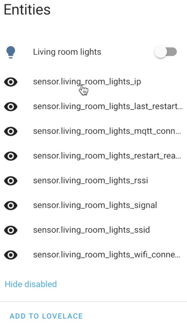 Disabled Entities from the Home Assistant Tasmota integration can be super use.