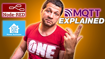 Kiril Peyanski pointing at mqtt explained label and node-red and home assistant logos
