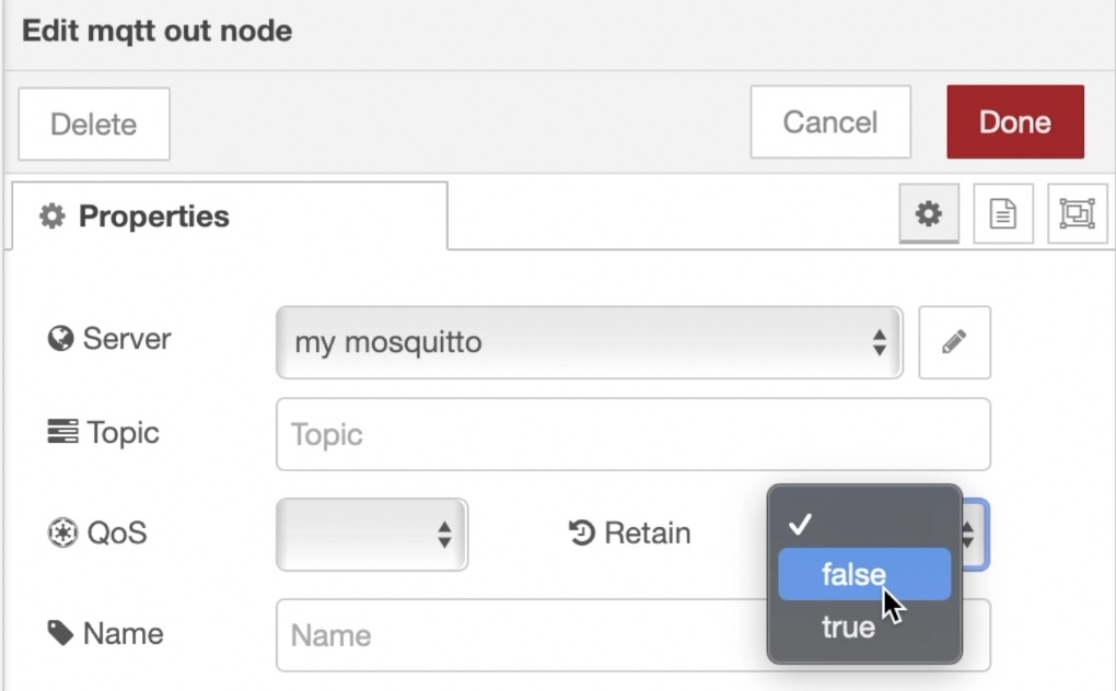 When you MQTT node in Node-RED you can change the Retain Flag to true or false