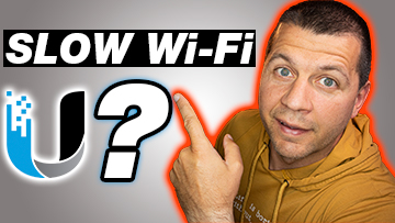 Kiril Peyanski pointing at Slow Wi-Fi label and question mark with Ubiquiti logo