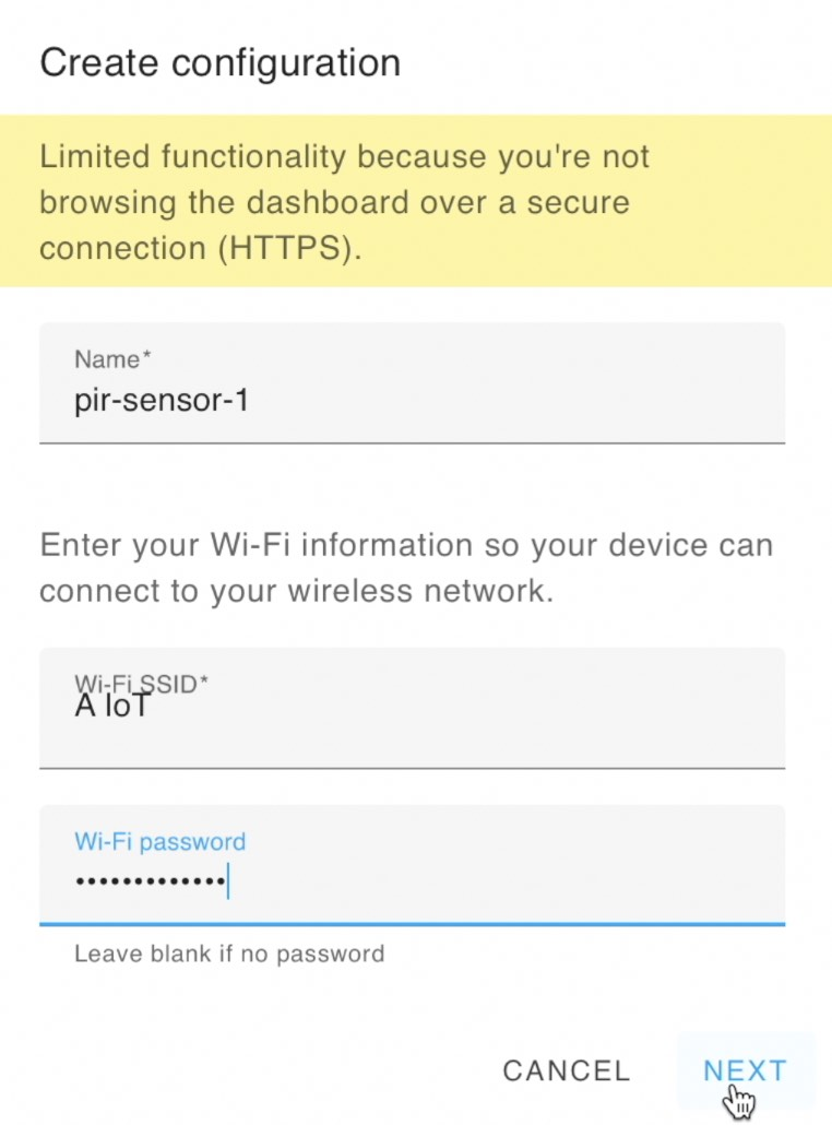 Enter a name and your Wi-Fi credentials to continue here