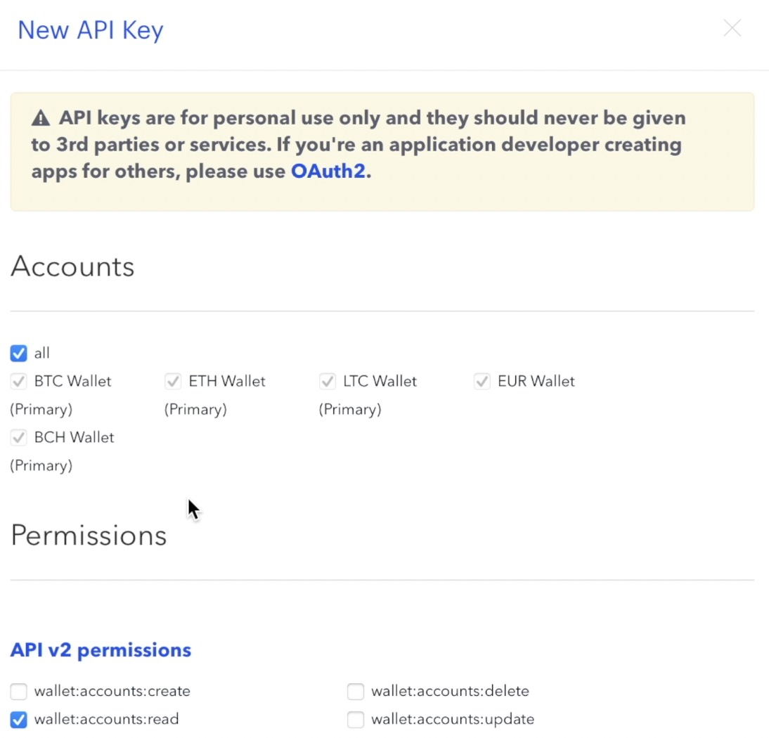 When you select permissions for your API key make sure that you select all under Accounts and wallets:accounts:read under API v2 permissions.