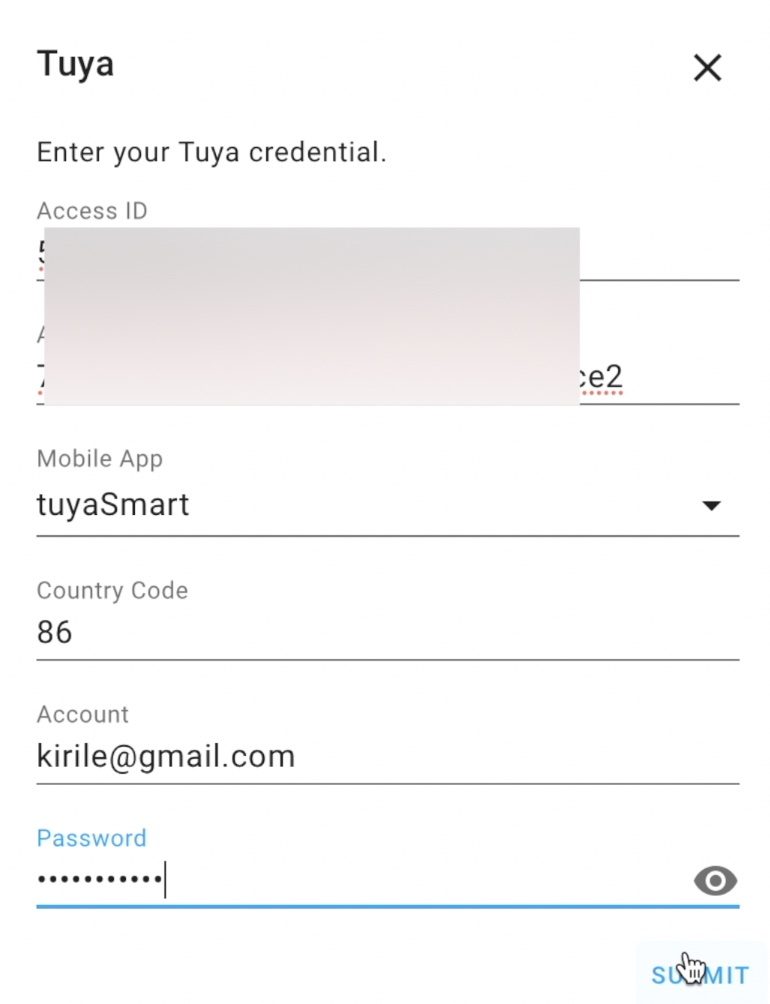 A dialog where you should enter your Access ID & Access Secret, Mobile App type, Country Code, and your Mobile App credentials.
