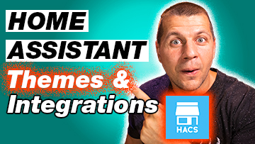 Kiril Peyanski pointing at Home Assistant Themes & Integrations label with HACS Home Assistant Community Store logo