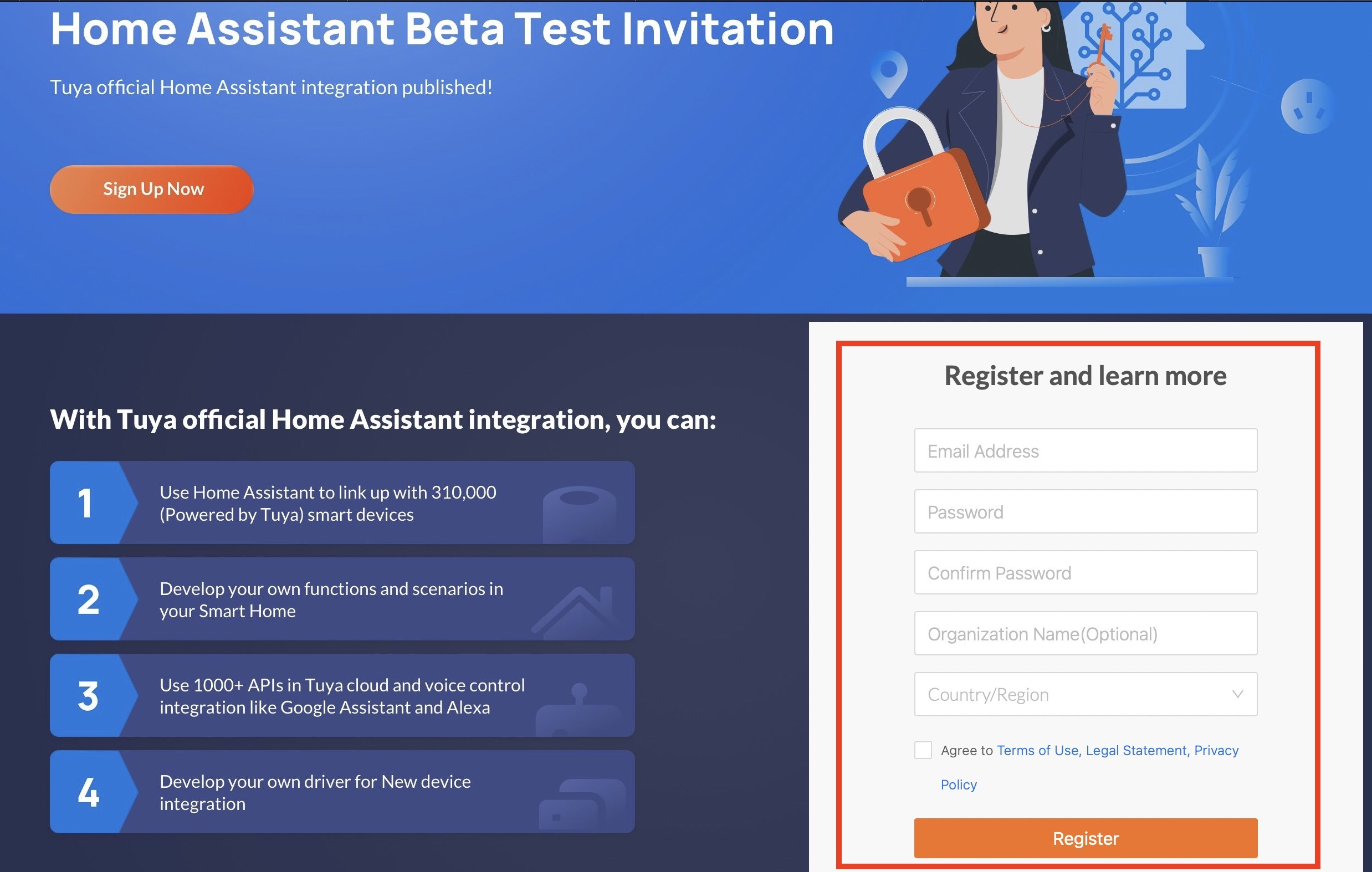 Home Assistant Tuya Beta Test invitation web page for registration.