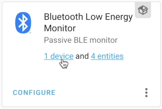 1 device and 4 entities under the Passive BLE monitor integration.