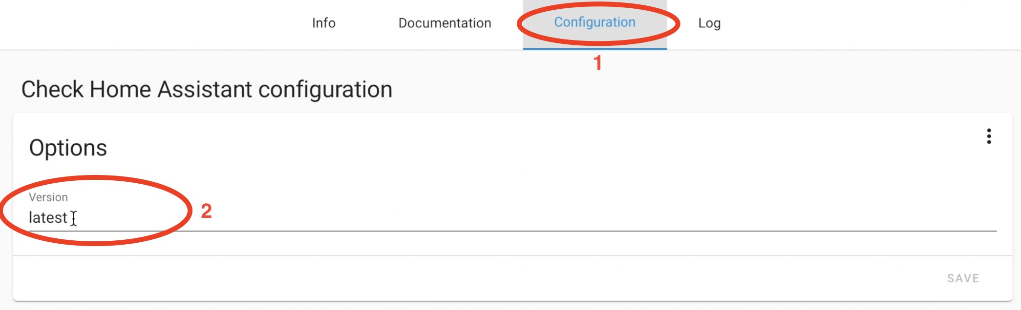 Check Home Assistant add-on Configuration tab is the place where you can enter the desired Home Assistant version that the add-on will verify.