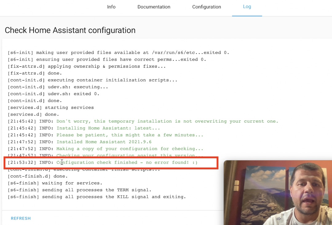 Check Home Assistant configuration finished and no errors found!