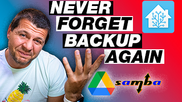 Kiril Peyanski with never forget backup again label and Home Assistant logo as well as Google Drive and Samba logos