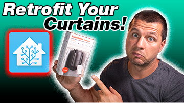 Kiril Peyanski holding a SwitchBot curtain box with retrofit your curtains and Home Assistant logo