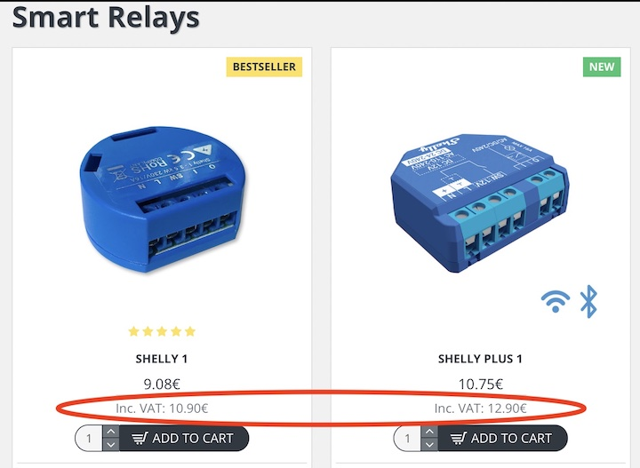 Old Shelly Relay vs New Shelly Plus relay price comparison