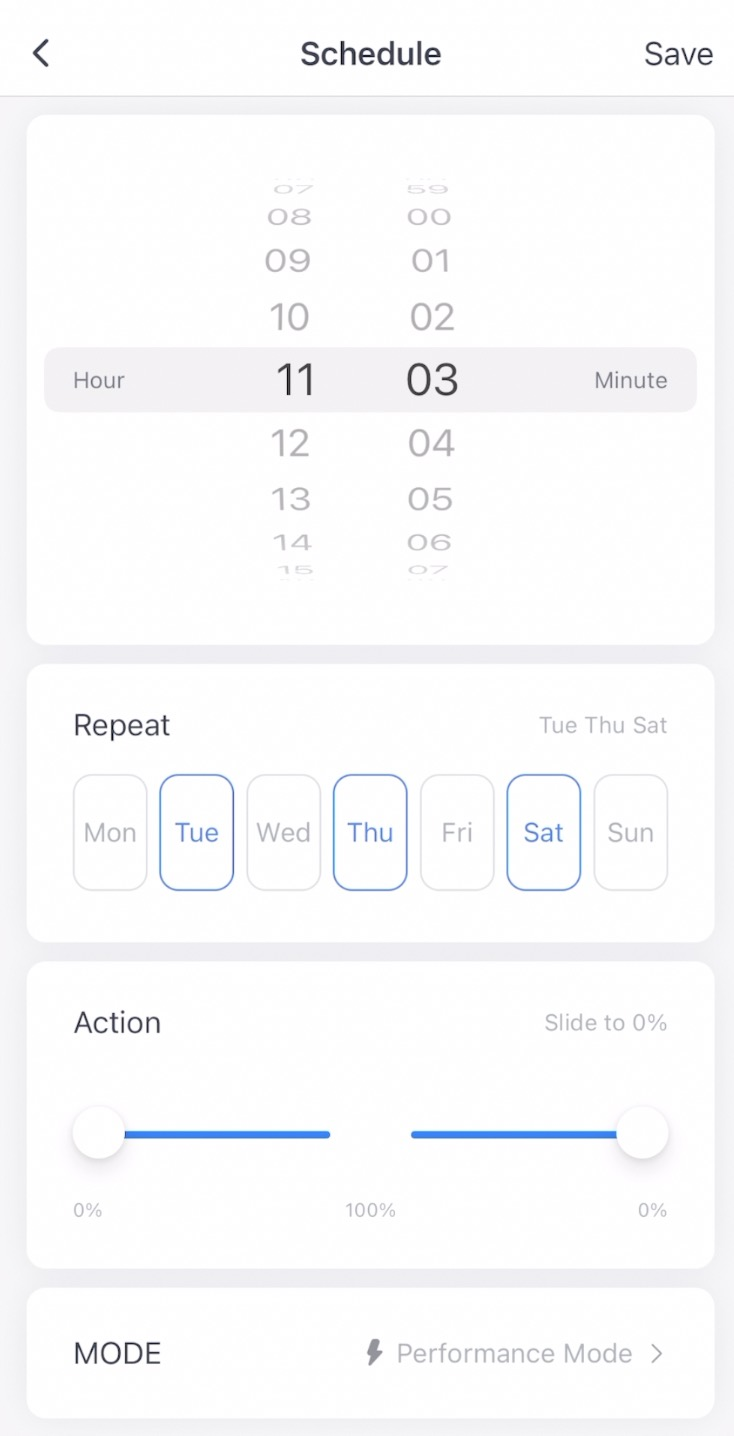 Schedule Options are availalbe in SwitchBot Curtain