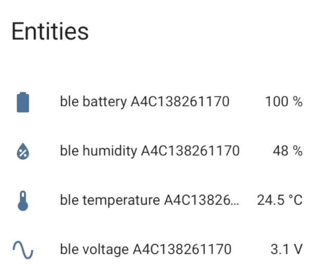 Xiaomi TH sensor readings in Home Assistant