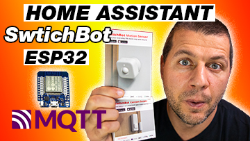 Kiril Peyanski holding SwitchBot Motion Sensor and SwitchBot contact sensor with home assistant switchbot esp32 mqtt label and d1 Mini ESP32 picture aside.